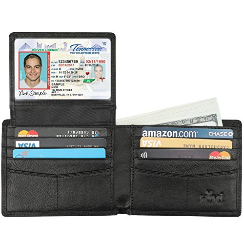 Wallet for Men-Genuine Leather RFID Blocking Bifold Stylish Wallet With 2 ID Window (Vegetable Tanned Black) (Med Black Leather Purse)