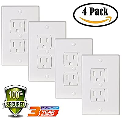 Universal Electric Outlet Cover Baby Safety Self-Closing Tamper Proof Child Standard Switch Plates Guards Kit (4 Pack)
