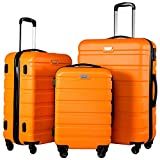 Coolife Luggage 3 Piece Set Spinner Trolley Suitcase Hard Shell Lightweight Carried On Trunk 20inch 24inch 28inch(orange)