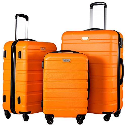 Coolife Luggage 3 Piece Set Spinner Trolley Suitcase Hard Shell Lightweight Carried On Trunk 20inch 24inch 28inch(orange) (Orange Set Expandable Luggage)