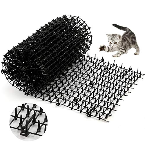 One Sight Cat Scat Mat with Spikes Cat Deterrent Outdoor Mat for Garden, Fence, Anti-Cats Network Digging Stopper Prickle Strip Home Pest Repellent 78''