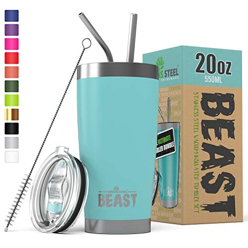 BEAST 20oz Tumbler Insulated Stainless Steel Coffee Cup with Lid, 2 Straws, Brush & Gift Box by Greens Steel (20 oz, Aquamarine Blue) ()