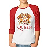 Women's 3/4 Sleeve Queen Rock Band Logo Essential Raglan Tee Shirts
