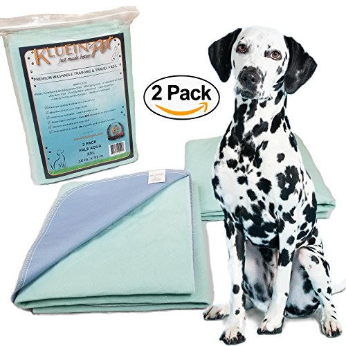 Kluein Pet Washable Pee Pads for Dogs & Puppies 2-Pack, XXL (36x41) Reusable and Waterproof for; Housebreaking, Potty Training, Whelping Mat, Travel, Incontinence, Play Pen - 10 Puppy Playpen