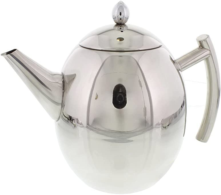 Cheftor 34-oz/1-Liter Polished Stainless Steel Teapot Kettle pot with Tea Infuser Filter for Home Kitchen, Restaurant or Office, Egg shape