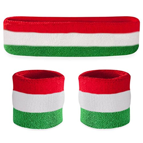 Suddora Striped Sweatband Set - (1 Headband and 2 Wristbands) Cotton for Sports & More. (Red White Green)