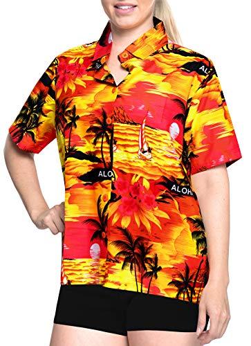 LA LEELA Likre Camp Aloha Beach Top Shirt Orange 51|XXL - US 44 - 48C (Ladies Check Camp Shirt)