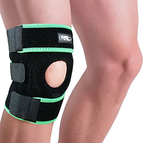 race Support Sleeve for Arthritis, Meniscus Tear, ACL, Running, Basketball, Sports, Athletic, MCL, Runners - Adjustable Open Patella Stabilizer Protector to Relieve Pain (Green) (Open Patella Knee Brace)