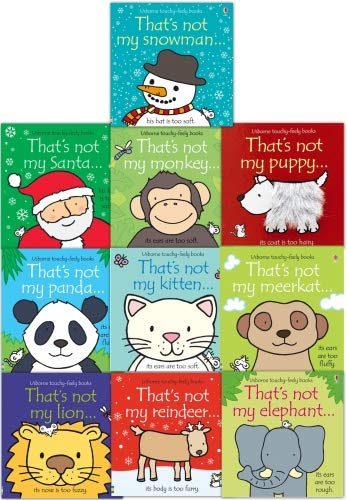 Thats Not My Toddlers 10 Books Collection Set Pack Fiona Watt (Touchy-Feely Board Books) (Colorful The Squirrel Owl Monkeys)