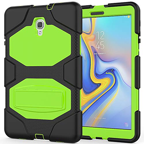 - Hansin Case for Samsung Galaxy Tab A 10.5 2018 Model SM-T590/T595, Shockproof Heavy Duty Rugged Cover Three Layer Hard PC+Silicone Hybrid Impact Resistant Case with Kickstand Holder, Black/Green
