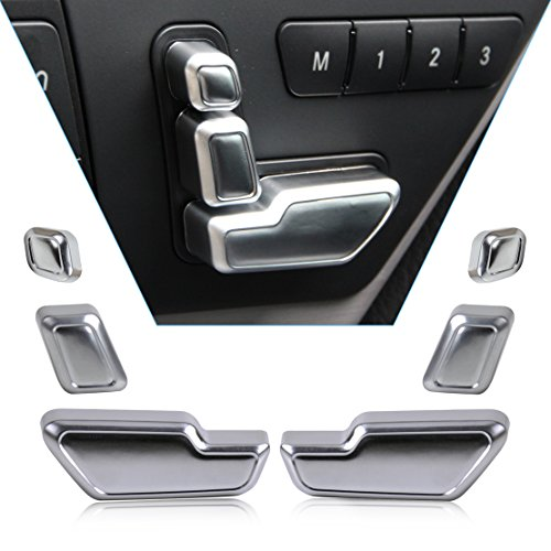 beler 6pcs Car Interior Door Seat Adjuster Button Switch Cover Trim for Mercedes-Benz B E GLK GL Class W246 W212 X204 X166