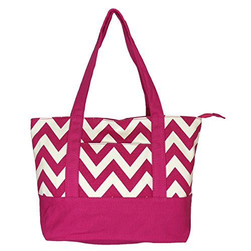 (NEW! High Quality Zippered Pattern Prints Large Roomy Canvas Tote Bag,Chevron Fuschia)