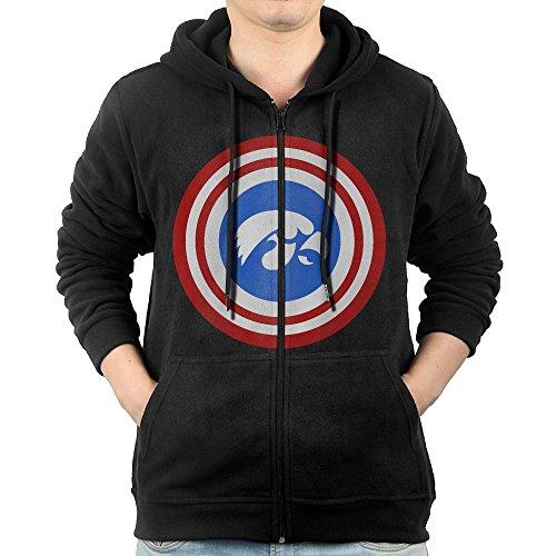 [SFG Men University Of Iowa Captain Travel Particular Hoodie Sweatshirt Casual Style XXL Black] (Iowa Hawkeye Mascot Costume)