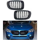 1 Pair Car Front Grille for BMW X3 F25 2014-2017 Double Slat Line Matte Black Front Bumper Kidney Grill