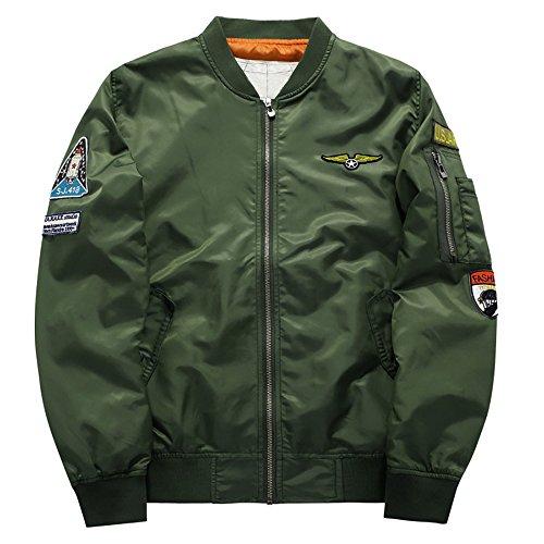 Jacket Bomber Quilted Nylon (YIMANIE Classic Bomber Jacket Men Nylon Quilted with Patches Army Green Medium)