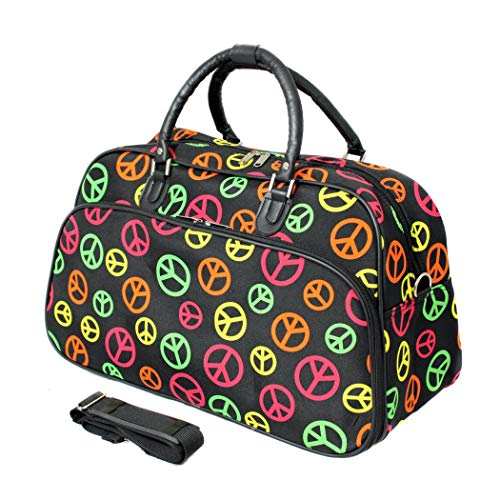 - Black Peace Sign Duffle Bag, CheckpointFriendly, Fashion, Lightweight, Utility, Sport, 21Inch CarryOn Shoulder Tote Bag, Softside, Foldable, Romantically Styled, EVA polyester