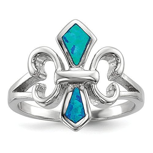 - 925 Sterling Silver Blue Inlay Created Opal Fleur De Lis Band Ring Size 8.00 Fine Jewelry Gifts For Women For Her