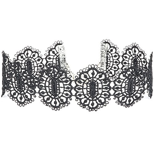 Twilight's Fancy Hexagonal Filigree Black Lace Choker Necklace (Small)