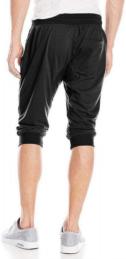 MK988 Mens Athletic Solid Elastic Waist Workout Rib-Knit Jogger Pencil Shorts