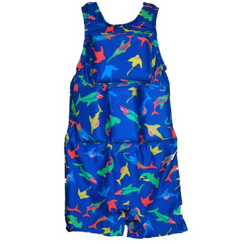 Boys Floating Bathing Suit Flotation Swimsuit X-small, Small, Medium, Large Sharks & Frogs Style (Sharks, XS (20-30 lbs))