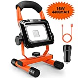 LED Work Light, TACKLIFE 15W Multi-function work light 4400mah Spotlights Outdoor Camping Lights with Car Charger, Built-in Rechargeable Lithium Batteries with 2 USB Ports to Quickly Charge for Mobile