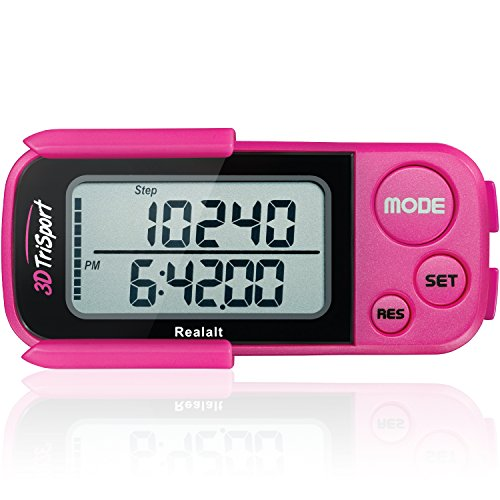 Price comparison product image 3DTriSport Walking 3D Pedometer with Clip and Strap,  Free eBook / 30 Days Memory,  Accurate Step Counter,  Walking Distance Miles / Km,  Calorie Counter,  Daily Target Monitor,  Exercise Time (Magenta)