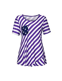 Ladies Loose Summer Short Sleeve Multicolor American Flag Tank Half Half T-Shirt Top Independence Day