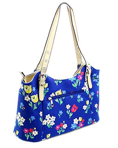 Ladies Women's Designer Beautiful Floral / Butterflies / Cats Print Fashion Trendy Shoulder Tote Bag Handbag Zip Top Closure & Phone Holder Blue Floral Print