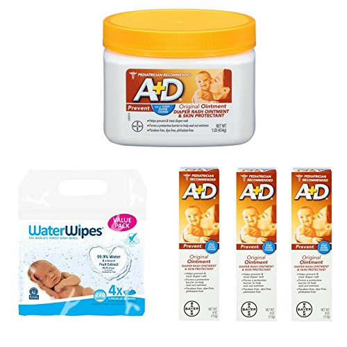 A+D Original Diaper Rash Ointment, Skin Protectant, 1 Pound Jar A+D Original Diaper Rash Ointment, Skin Protectant, 4 Ounce Tube, 3 Counts WaterWipes Sensitive Baby Wipes, 4 Packs of 60 (240 Count)
