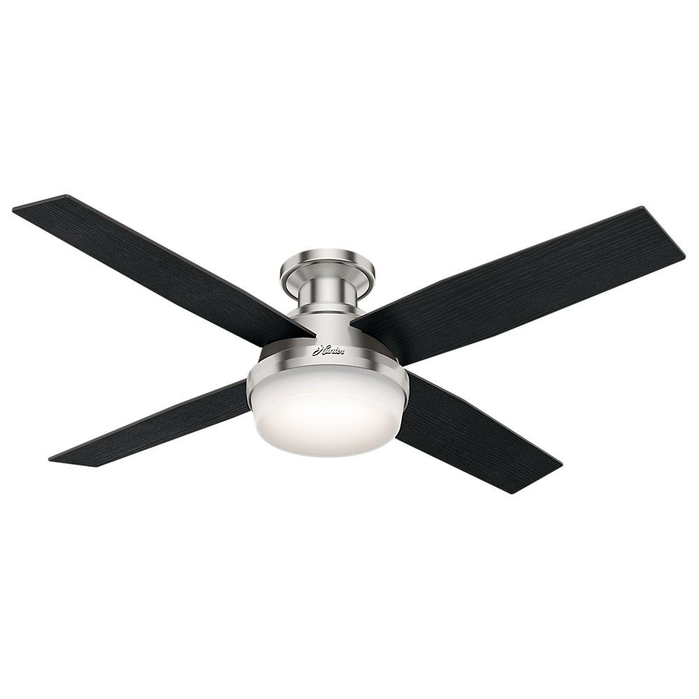 Hunter 59241 Dempsey Low Profile Brushed Nickel Ceiling Fan With Light & Remote, 52''