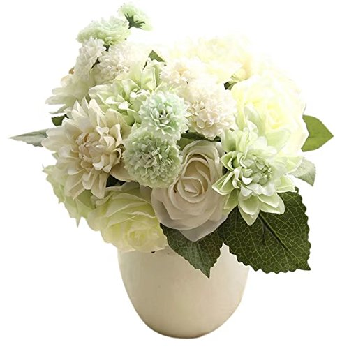 Daisy Rose Wedding Bouquet - Celine lin 1 Bunch 8 Pcs Artificial Rose Dahlia Daisy Flower Bouquet Bride Bridesmaid Holding Flowers For Home Hotel Office Wedding Party Garden Craft Art D¨¦cor,White green