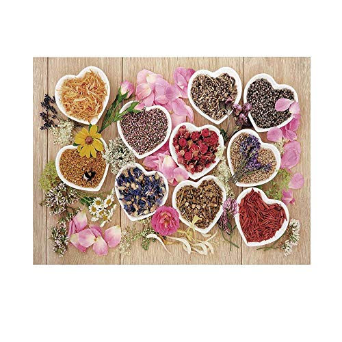 - Floral Photography Background,Healing Herbs Heart Shaped Bowls Flower Petals on Wooden Planks Print Healthcare Decorative Backdrop for Studio,8x7ft
