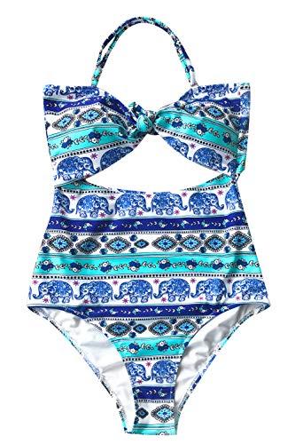 Bathing Elephant - CUPSHE Women's Elephant Print One-Piece Swimsuit Beach Swimwear Bathing Suit (XL) Blue
