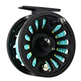 Isafish Fly Reel 5/6 Wt with Weight Forward Fly Fishing Line WF-6F with Welded Loop Backing Line Taper Leader Tippet Combo Set Blue&Yellow
