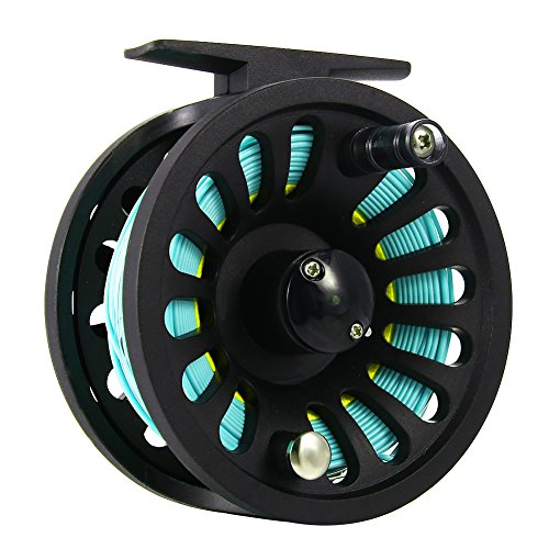 MeterMall 1+1B Bearing Fly Fishing Reel Fishing Line + Extension Line+Taper Leader+Tippet Set Blue&Yellow