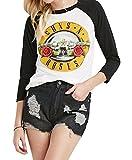 Darceil(TM) Women's Long Sleeve Rock Band Guns N' Roses Print T Shirt Top (M, White)