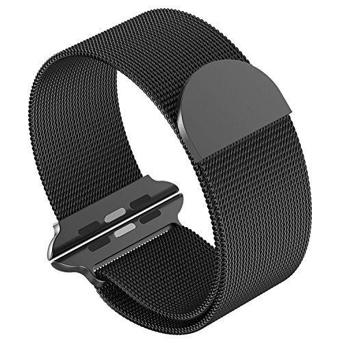 Mens Watch Black Band - SIRUIBO Band for Apple Watch 38mm, Stainless Steel Mesh Milanese Loop with Magnetic Closure Clasp Replacement WristBand Bracelet for Apple Watch iWatch Series 3/2/1 Nike+ Edition, Black