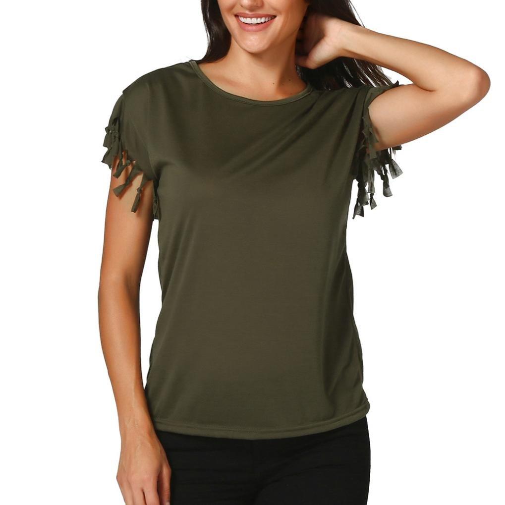 OSYARD Damen Quaste Kurzarm Top Sommer Lose Bluse Shirt