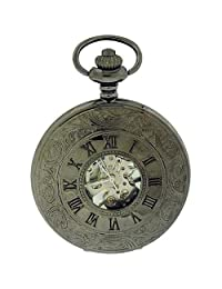 Jakob Strauss Antique Style Roman Numeral Gunmetal Tone Mechanical Pocket Watch