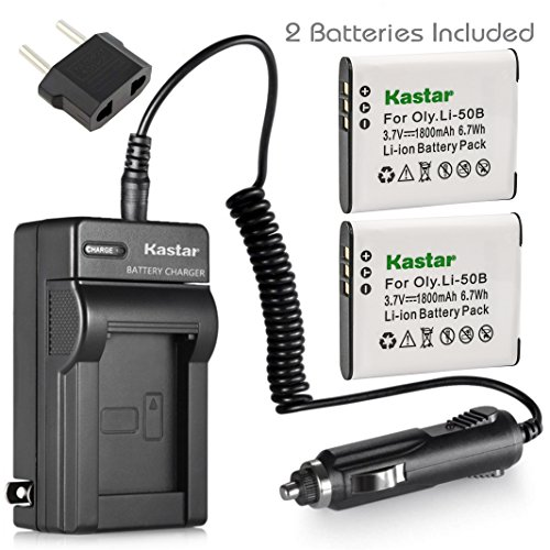 (Kastar Battery (2-Pack) and Charger Kit for Olympus LI-50B, LI-50C, Pentax D-LI92, Panasonic VW-VBX090 and Olympus Stylus,Tough Series, Pentax Optio Series, Panasonic HX-WA03 WA2 WA20 WA3 WA301 Camera)