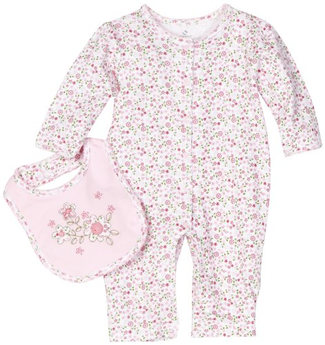 Absorba Baby-Girls Newborn Floral Print Basic Coverall And Bib Set