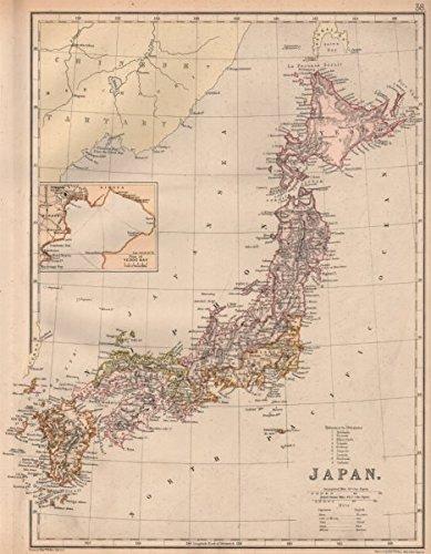 Ancient Map Of Japan.Japan Shows Ancient Provinces Ryoseikoku Inset Tokyo Bay Blackie