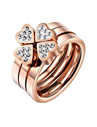 Tyzon Fashion Design Happiness Grass Love Stainless Steel Womens Ring