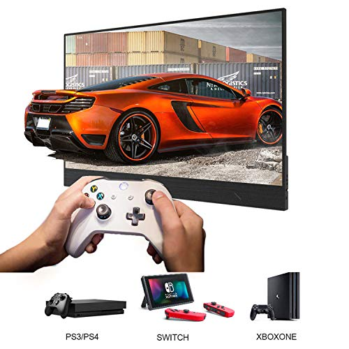 Portable Monitor Display 1920x1080 15.6-inch Super Thin IPS Gaming Monitor Screen USB-C for Laptop Computer Mac Phone HDMI Device,PS4 Xbox,Nintendo,Raspberry pi, Mac Mini,Mobile with Leather Case