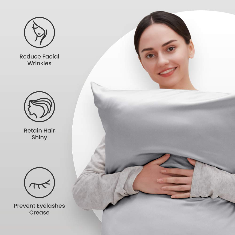 SLEEP ZONE Satin Pillowcases Temperature Regulation Set of 2 for Hair and Skin King 20x40 Pillow Cover (King, Silver Grey)