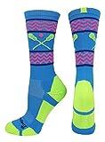 MadSportsStuff Chevron Girls Lacrosse Socks Lacrosse Sticks Athletic Crew Socks (Electric Blue/Neon Green, Medium)