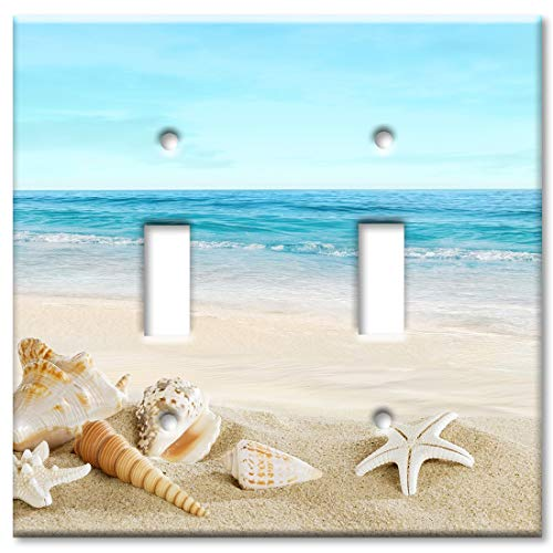 (Art Plates 2-Gang Toggle OVERSIZED Switch Plate/OVER SIZE Wall Plate - Seashells on the Beach )