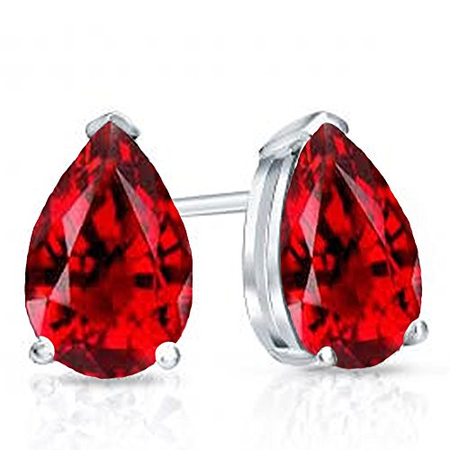 Garnet Ring White Gold Jewelry - 14K White Gold 6X4 MM Each Pear Garnet Ladies Solitaire Stud Earrings