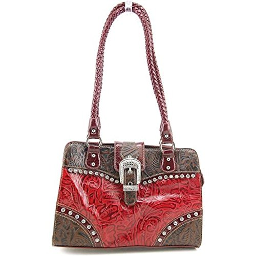 Madi Claire Betsy 3218 Red Leather Shoulder Bag