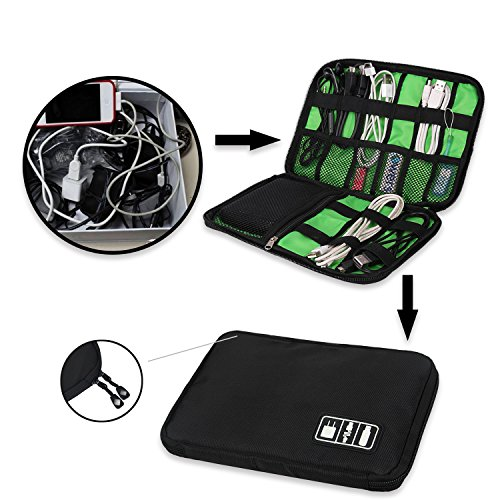 Travel Universal Cable Organizer Electronics Accessories Cases for Various USB, Phone, Charger and Cable, Black by zhenrong (Image #1)